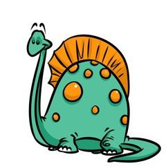 Dinosaur green cartoon illustration isolated image animal character