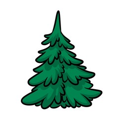 Green tree nature element cartoon illustration isolated image