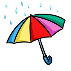 Umbrella rain cartoon illustration isolated image