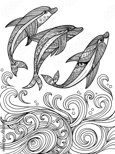Vector Zentangle Dolphins In Scrolling Sea Wave For Adult Colori