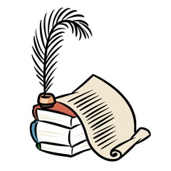 Books scroll pen cartoon illustration isolated image