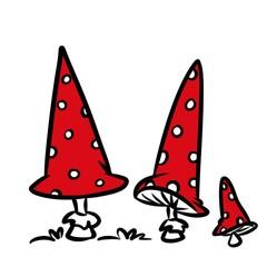 Mushrooms amanita cartoon illustration isolated image
