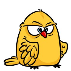 Yellow Angry Bird cartoon illustration isolated image character