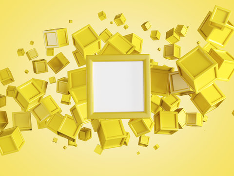 Abstract background made of yellow flying boxes over yellow bg with white mock up in the center. Copy space. 3d rendering.