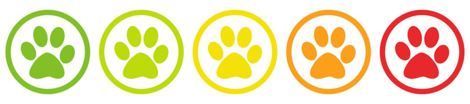 Tier Pfoten Bewertung System Buttons von grün bis rot
