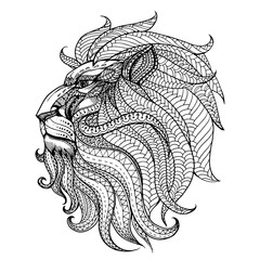 Ethnic patterned head of Lion , Animals. Black white hand drawn