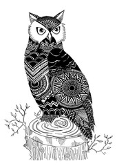 Abstract vector illustration of owl made with ethnic pattern.
