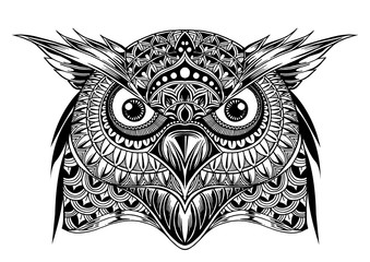 Vector hand drawn Owl face. Black and white zentangle art. Ethni