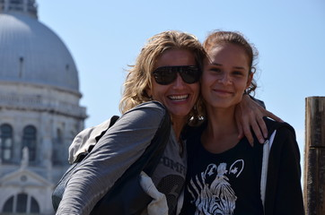 mother and daughter on holiday in venice