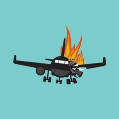 Doomed Plane Accident On Fire Vector Illustration