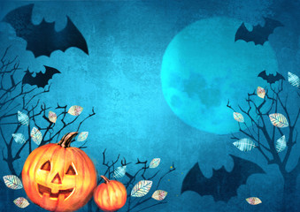 Halloween spooky background with bats flying in the moonlight autumn trees and pumpkins. Scary Halloween background.
