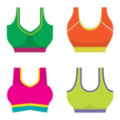 Set Of Colorful Women Sport Bra Vector Illustration