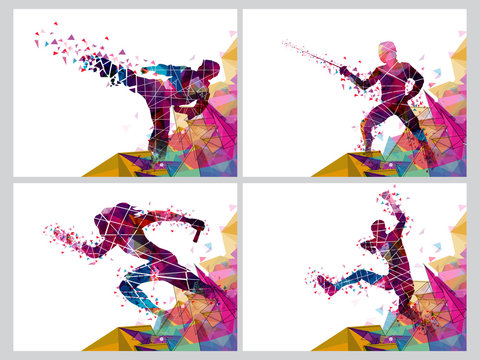 Set of four Sports with Players. Vector Abstract Illustration.