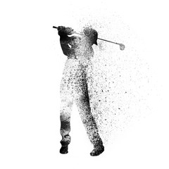 Golfer for Sports Concept. Vector abstract Illustration.