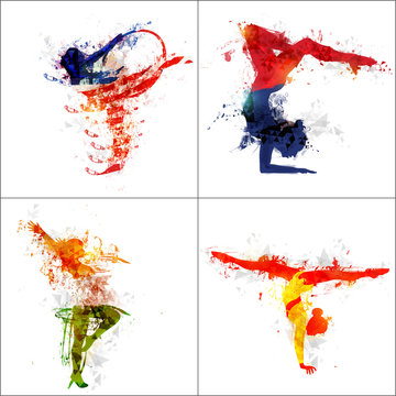 Vector abstract Illustration of Gymnastics Girl for Sports Concept.