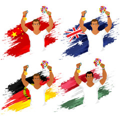 Set of Participant Countries Flags with Players.