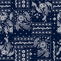 Hand drawn paisley pattern. Wallpaper decoration floral print. Ornamental india motif