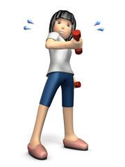 ダンベルでトレーニングする若い女性