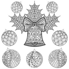Christmas Bell with balls in zentangle style. Freehand ethnic Xm
