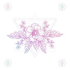 Flowers in hipster triangles, boho color line art tattoo. Bohemi