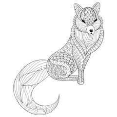 Fox in zentangle style. Freehand sketch for adult antistress col