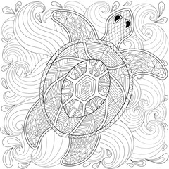 Turtle in ocean waves, zentangle style. Freehand sketch for adul