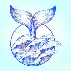 Whale tail in blue sea waves, boho tattoo. Ocean line art drawin