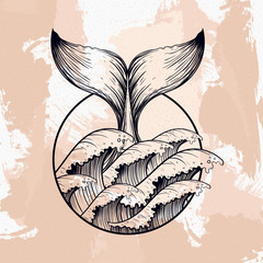 Whale tail in sea waves, boho blackwork tattoo. Ocean line art d