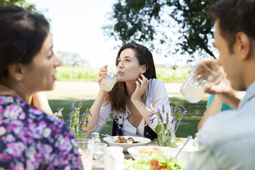 Woman enjoying carefree weekend with friends