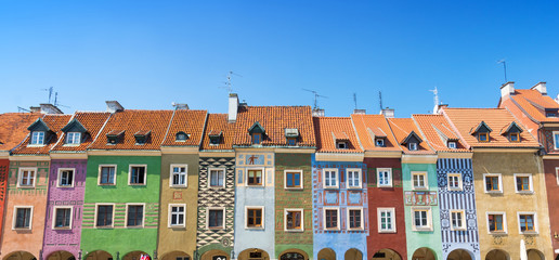 colorful houses on market square on old town in Poznan, Poland