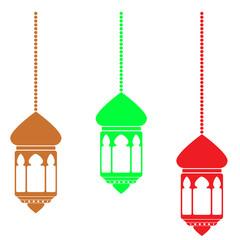 three model of Lantern, isolated on white