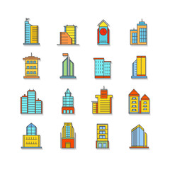 set of thin colorful business city icons