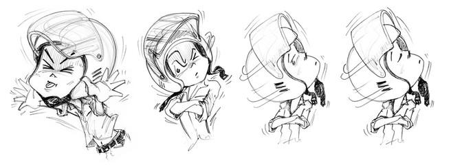 Felling Cartoon Animation Acting Bike Man Character design