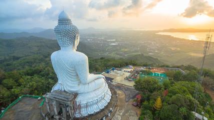 Beautiful Phuket's big Buddha in rainy season