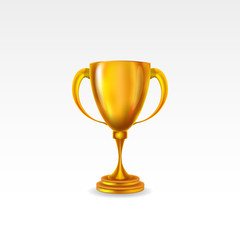 golden award trophy isolated on white background