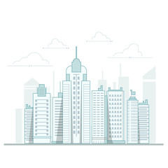 City background, urban landscape. Vector line design