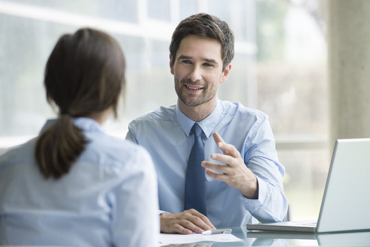 Lawyer meeting with client