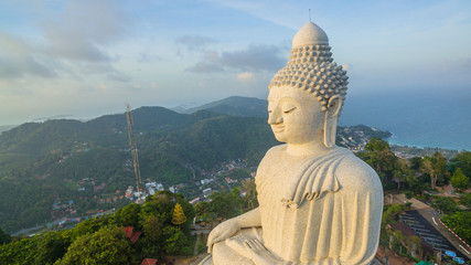 Beautiful Phuket's big Buddha in rainy season