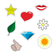 Vector illustration set of stickers . Yellow star , red lips , hand cool , diamond , gemstone , bright sun , leaf, flower and chamomile. Isolated with a contour for cutting . Patch set.