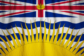 Closeup of Ruffled British Columbia Flag, British Columbia Flag