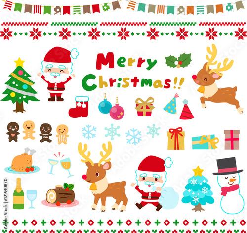 クリスマスのファンシーなイラストセットfotoliacom の ストック画像と
