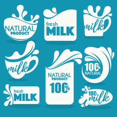 vector collection of fresh and natural milk emblems, symbols and
