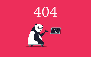 Error 404 page. Sad panda pointing on dead computer. Error page design template.