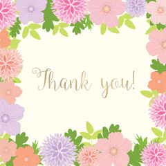 Thank You Card With Floral Frame - vector eps10