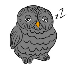 Gray sleepy owl cartoon illustration