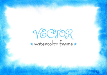 Delicate watercolor frame. Blue, green, turquoise background. Vector isolated. Hand painted abstract watercolor texture. Watercolor wash. Ombre Watercolour texture.