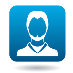 Avatar man with beard icon in simple style in blue square. People symbol