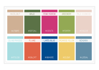 Spring Colors for 2017. Colors of the Year, Palette Fashion Colors. with Name. Vector Illustration