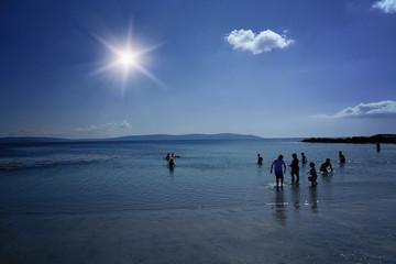 Galway, Connacht, Irlande, mer, plage, bleu, paysage, soleil