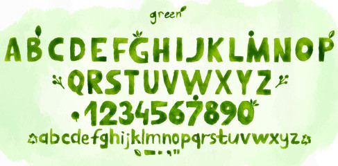 Green watercolor alphabet hand-drawn.